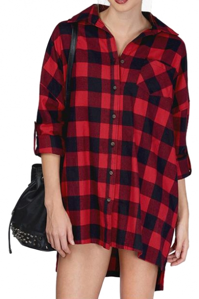Red Background Black Plaid Pattern Boyfriend Style Shirt