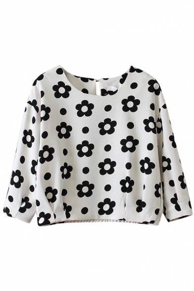 Sunflower Print Round Neck 3/4 Sleeve Gathered Waist Cropped Blouse