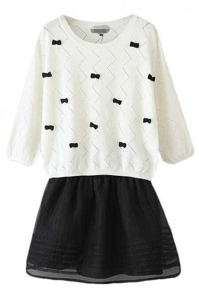 Black Bow Tie Embellished White Knitted Sweater with Black Organza Skirt