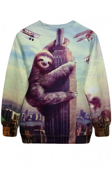 Plane Building Sloth 3D Sweatshirt Climbing Print 68gxqnStwU