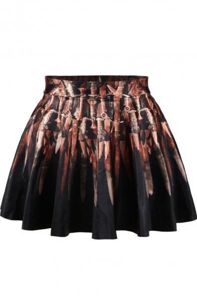 Artistic Painting Print High Waist Pleated Mini Skirt
