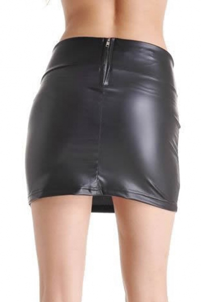 PU Black Plain Zipper Fly Skinny Pencil Skirt - Beautifulhalo.com