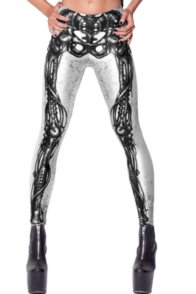 Skeleton Print White Background Elastic Pencil Leggings