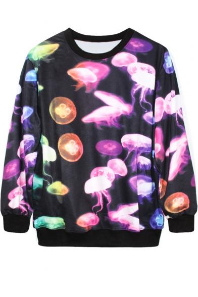 Fantastic Jellyfish Print Black Sweatshirt