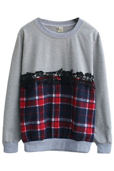 Plaid Round Neck Long Sleeve Loose Sweatshirt