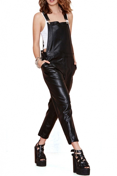 Cool Style Black PU Longline Overalls