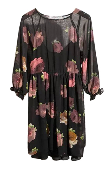 Floral Print Round Neck Sheer Chiffon Two Piece in One Dress
