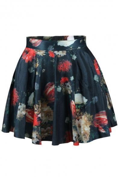 Colorful Floral Print High Waist Pleated Mini Skirt