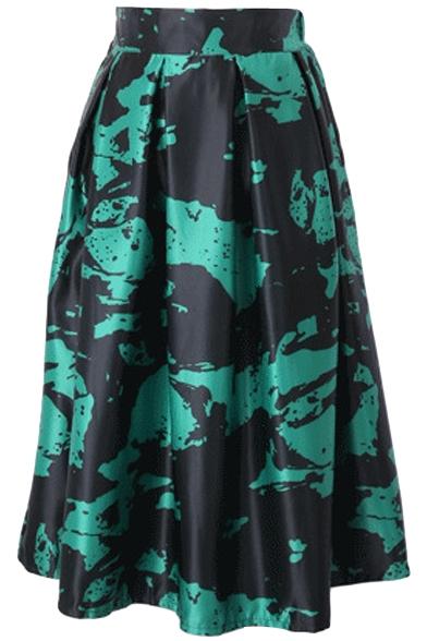 Fashionable Print Elastic Waist Pleated Midi Skirt