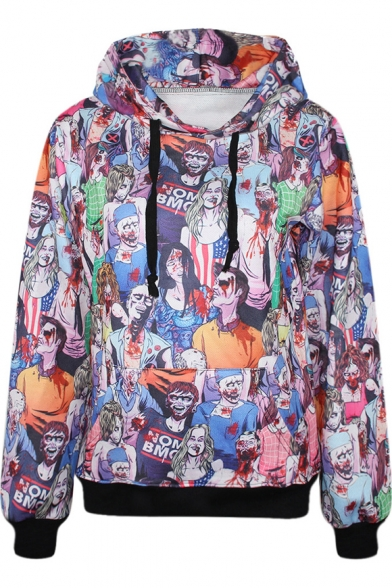 horrible zombie print hooded pullover with pocket front - Zombie Pictures To Print