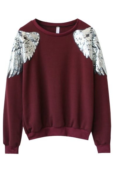 Sequined Angel Wings Round Neck Sweatshirt With Long