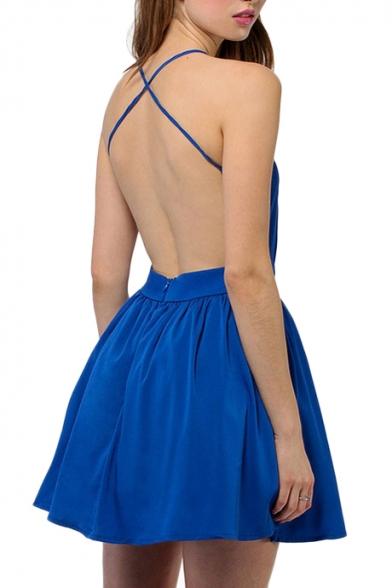 Sexy V-Neck Cross Spaghetti Strap Back Mini A-line Dress