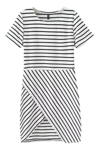 Stripe Print Round Neck Short Sleeve Asymmetric Hem Dress