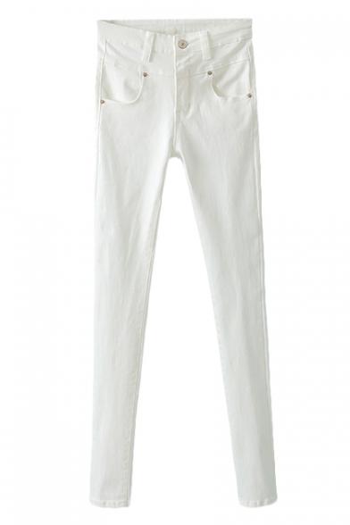 Button Detail Basic Style Plain Skinny Pants