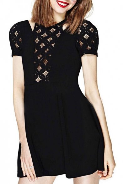 Diamond Lace Cutout Top Short Sleeve Black Babydoll Dress