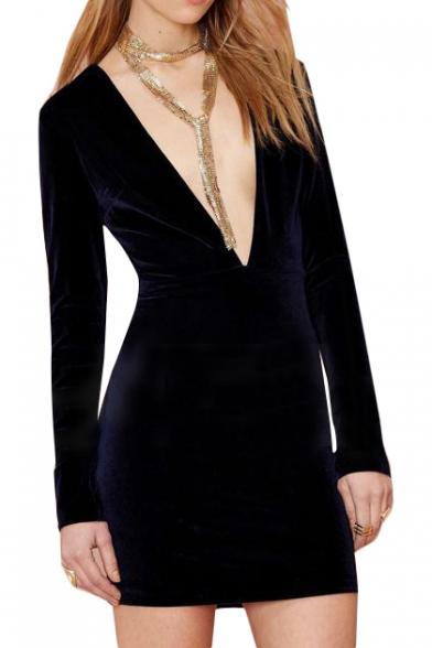 Elegant Purple Plunge Neck Velvet Bodycon Long Sleeve Dress ... ed311d541