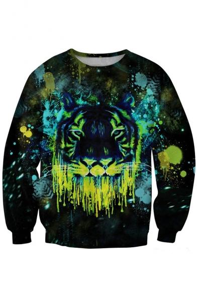 Fluorescent Tiger Print Black Sweatshirt