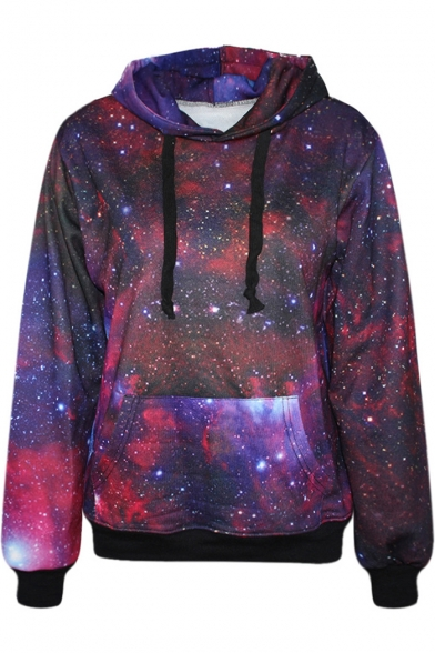 Purple Galaxy Print Hoodie Beautifulhalo Com