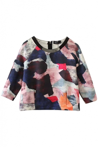 Round Neck Unique Color Ink Graffiti 3/4 Sleeve Blouse