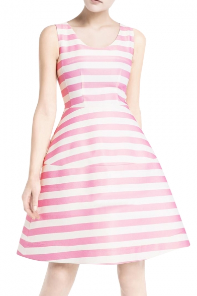 Sweet Navy Style Stripe Pattern Sleeveless Aline Dress Delectable A Line Dress Pattern