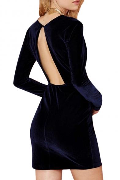 ... Elegant Purple Plunge Neck Velvet Bodycon Long Sleeve Dress ... 57dd80ee8