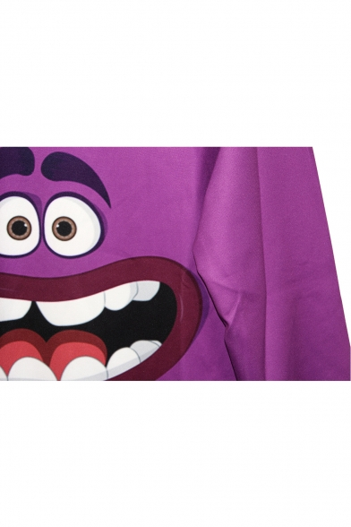 Sweatshirt Character Funny Purple Cartoon Print qIX11HxwF