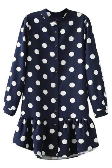 Polka Dot Print Round Neck Long Sleeve Ruffle Hem Dress