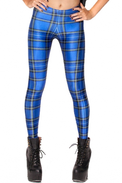 Blue Plaid Spandex Skinny Fitted Pencil Leggings