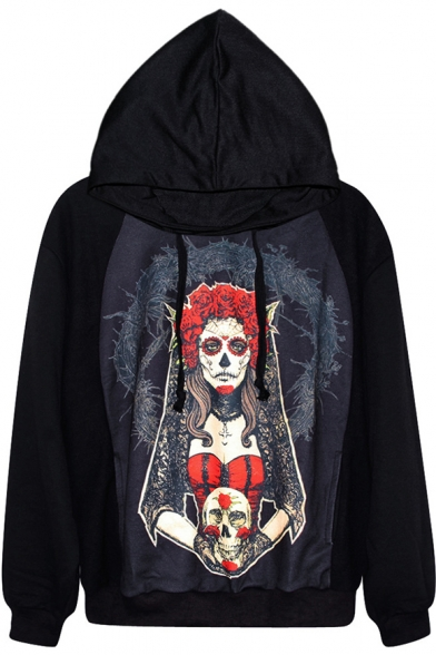 Sad Red Witch Print Black Hoodie
