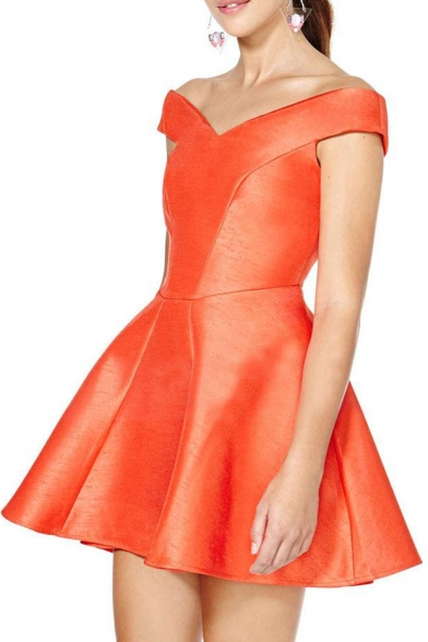 Shining Orange Off-the-Shoulder Seam Detail Concise A-line Dress