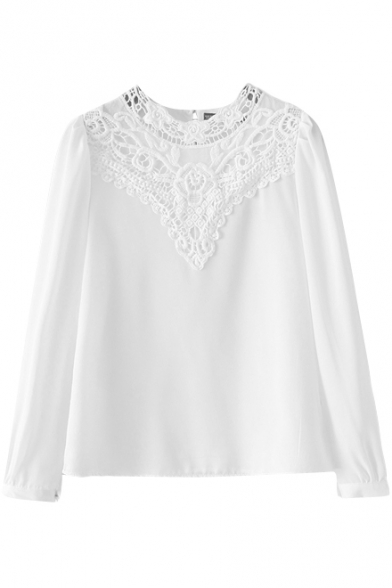 4daadd1412965 White Plain Lace Insert Long Sleeve Half High Collar Blouse -  Beautifulhalo.com