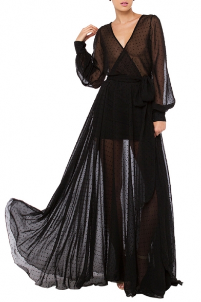 Black bell sleeve maxi dress