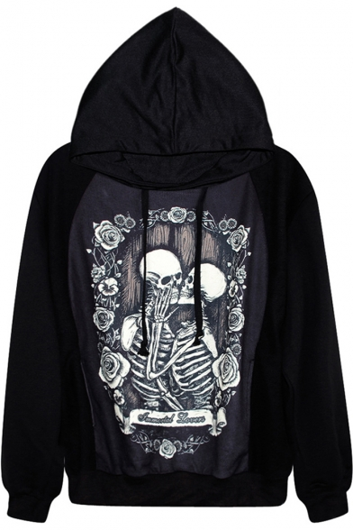 Kissing Skeleton Couple Print Black Hoodie
