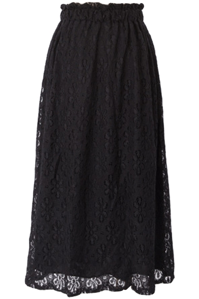 Plain Cutout Lace Inserted Elastic Waist  Maxi Skirt