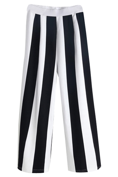 White&Black Striped Elastic Waist Crop Pants
