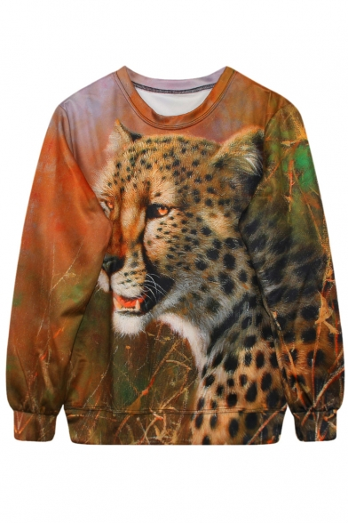 Leopard On Grassland Print Sweatshirt