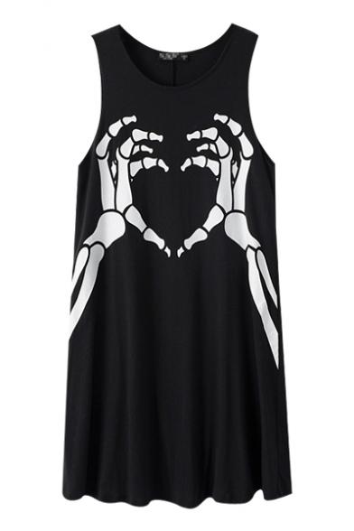 Black Hands Bone Print Round Neck Sleeveless Sundress