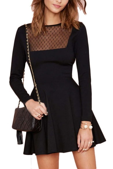 Fashionable Dot Pattern Mesh Panel Long Sleeve Black A Line Dress