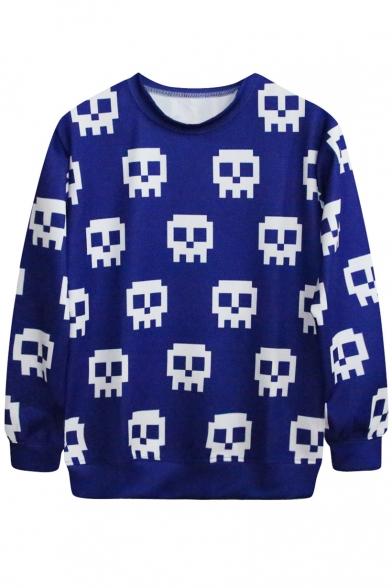 Mosaic Skull Face Print Blue Sweatshirt