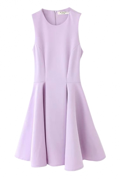 Plain Round Neck Pleated Sleeveless Fit and Flare Dress