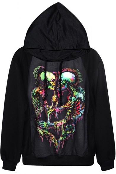 Symmetric Multi Color Skeleton Print Black Hoodie