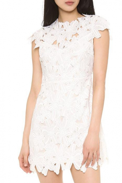 Embroidered flower lace cutwork cap sleeve white mini dress embroidered flower lace cutwork cap sleeve white mini dress mightylinksfo