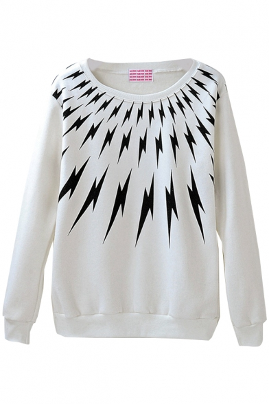 Lightning Print Round Neck Sweatshirt with Velvet Inside