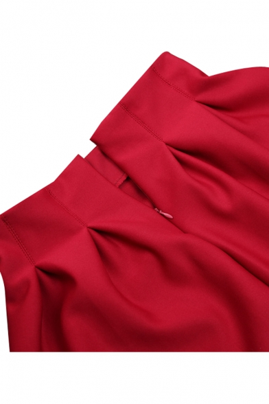 Plain Pleated Cotton Mini Skirt with Elastic Waist