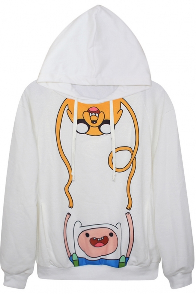 Stylish Adventure Time Print Hoodie with Long Sleeve