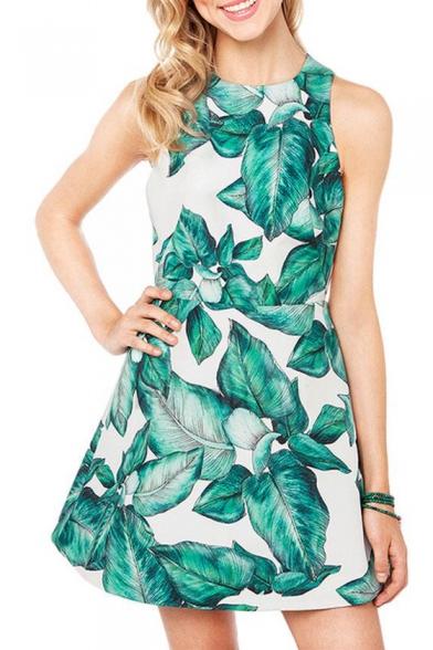 Banana Leaves Print Split Back Sleeveless Fit&Flare Dress