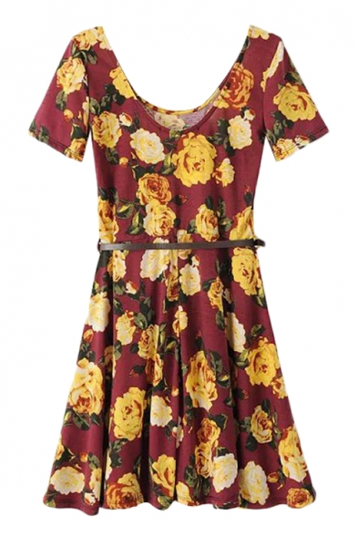 Flower Print Low Round Neck Short Sleeve Belted Skater Dress