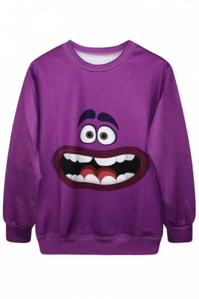 Cartoon Sweatshirt Print Purple Character Funny Rdwq0ZR
