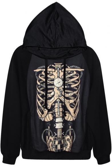 Metal Skeleton Print Black Hoodie