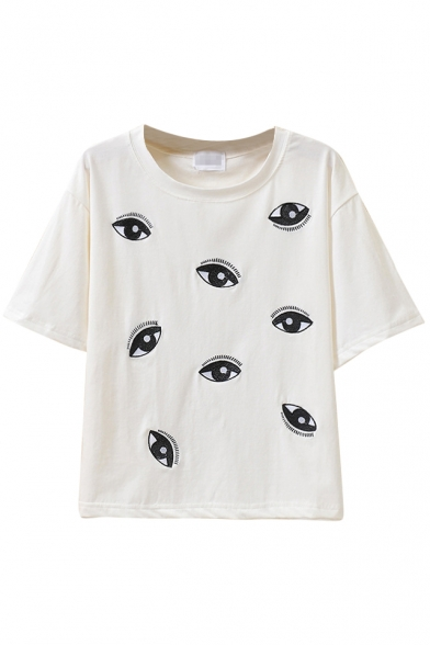 b14732fcb57 White Background Eyes Print Crop T-Shirt - Beautifulhalo.com